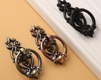 Drawer Handle Antique Bronze Copper Black Drop Ring Pulls Handles / Cabinet  Handle Pull Knob Furniture Hardware