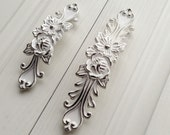 3.75 5 Shabby Chic Dresser Drawer Pulls Handles White Silver French Country Kitchen Cabinet Handle Pull Antique Furniture Hardware