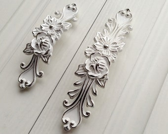 """3.75"""" 5""""Shabby Chic Dresser Drawer Pulls Handles White Silver / French Country Kitchen Cabinet Handle Pull Antique Furniture Hardware"""