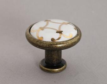 Ceramic Knobs / Cabinet Knobs / Dresser Knobs / Drawer Knobs Pulls Handles White Gold Antique Brass Furniture Knob Pull Handle Hardware