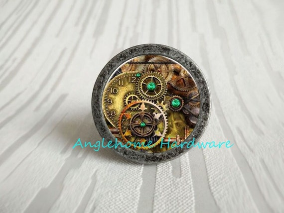 Steampunk Engrenage Poignees Des Tiroirs Boutons Tire Etsy