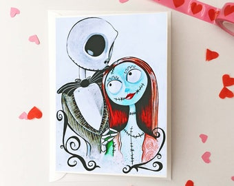 Nightmare Before Christmas Valentine's Day Card, Jack Skellington and Sally Couple Love card, Gothic Pop Culture Valentine's Day Card