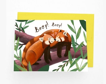 Cute Red Panda Anniversary Card, I Love You Red Panda Valentine's Day Card, Red Panda Card for Other Half
