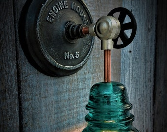 Industrial Upcycled Glass Insulator Wall Sconce Engine House No.5, Wall Sconce, Industrial Lighting, Edison Lighting, Telegraph Insulator
