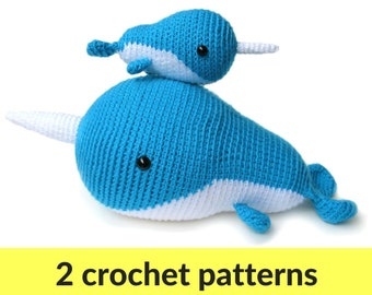 Large Amigurumi Narwhal Pattern Crochet Whale Pattern Large Etsy