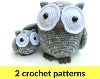Owl amigurumi patterns - owl stuffed animal, crochet owl pattern, animal amigurumi, large owl pattern, small owl pattern, easy amigurumi