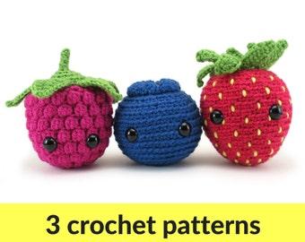 Berry Amigurumi patterns - pattern ebook, strawberry, raspberry, blueberry, crochet pattern, kawaii berry, cute fruit, cute amigurumi