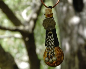 mini bottle necklace, tribal necklace, shamanic necklace, medicine man, pixie necklace, german silver necklace, useful necklace, handmade ..