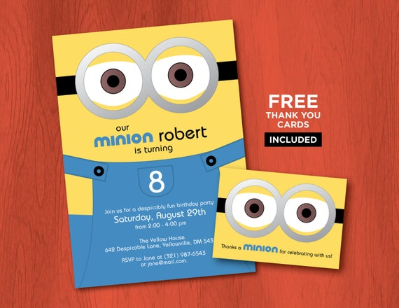 Printable MINION Birthday Invitations Personalized