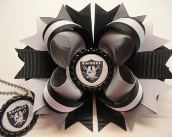 """Oakland Raiders Boutique Stacked hair Bow W5.0"""" x L4.5"""" x H2.0"""" & Matching Necklace Set"""