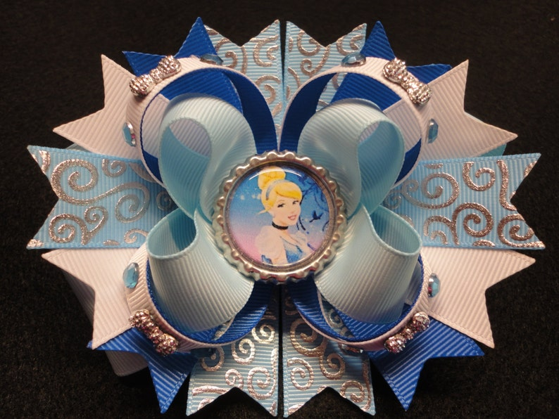 Princess Cinderella Boutique Stacked Hair Bow Handmade Blue And White