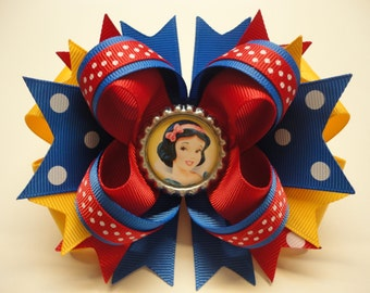 "SNOW WHITE Boutique Stacked Hair Bow Royal Blue/Red/Lt.Gold W 5.0"" x L 4.5"" x H 2.0"""