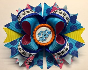 """BLUE. Blues Clues Boutique Stacked Hair Bow W5.0"""" x L4.5"""" x H2.0"""""""
