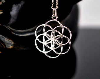 Flower Of Life Seed of Life 3D Ball Golden Necklace