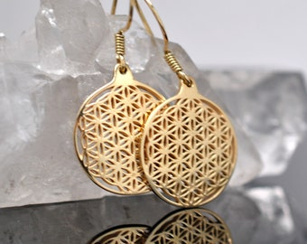 Flower of life Gold Earrings, sacred geometry, Free shipping to US Fedex