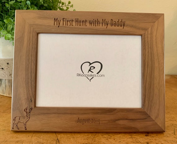 Deer Hunting with Daddy Personalized Alder Wood Picture Frame 5x7