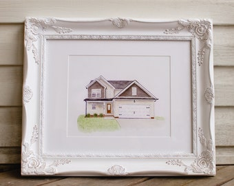 Custom Watercolor House Portrait - FREE SHIPPING