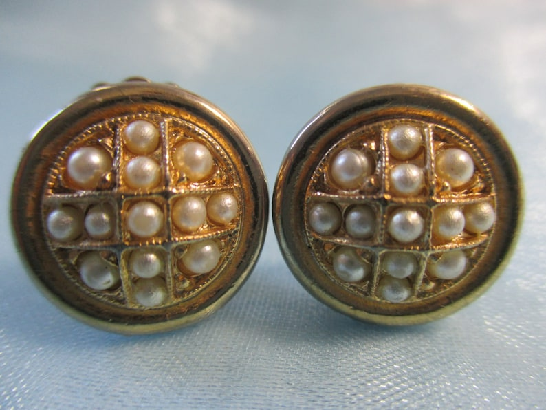 Tiny Vintage Bergere Gold Toned and Faux Pearl Clip On Earrings