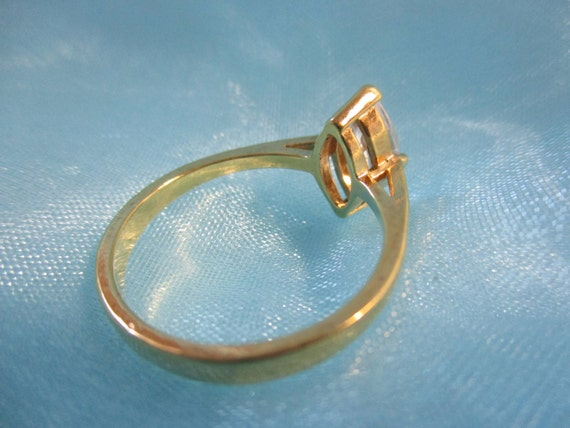 CZ Solitaire Gold Tone Ring - image 3