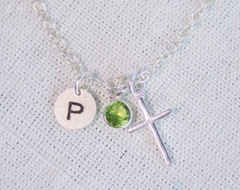 Personalized Small Cross in Sterling Silver Necklace , First communion , Dainty Cross Necklace Silver Cross , Girls Cross Necklace ,
