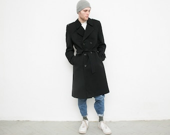 Black vintage men's trench coat . Retro 90s long sleeved jacket . Classic double breasted designer quality overcoat . Excellent condition .