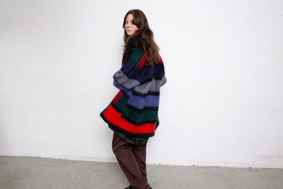 Vintage Knitted Sweater Cardigan Mohair Dark Multi