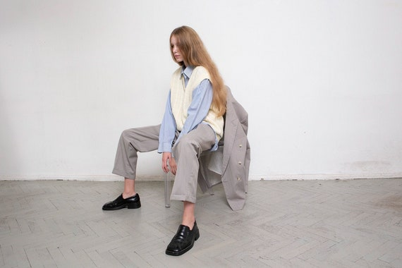 Vintage Two Piece Suit Grey Wool Pinstripe Blue St