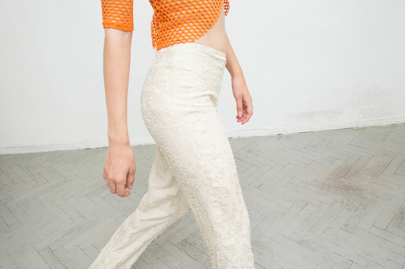 Vintage Silk Beige Glitter Pearl Floral Detail Trousers Wide Relaxed Zip Up Mid Waisted Lightweight Romantic Shiny Summer Festival Pants Y2K