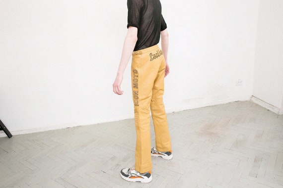 Vintage Mustard Yellow Leather Trousers Mid Waist