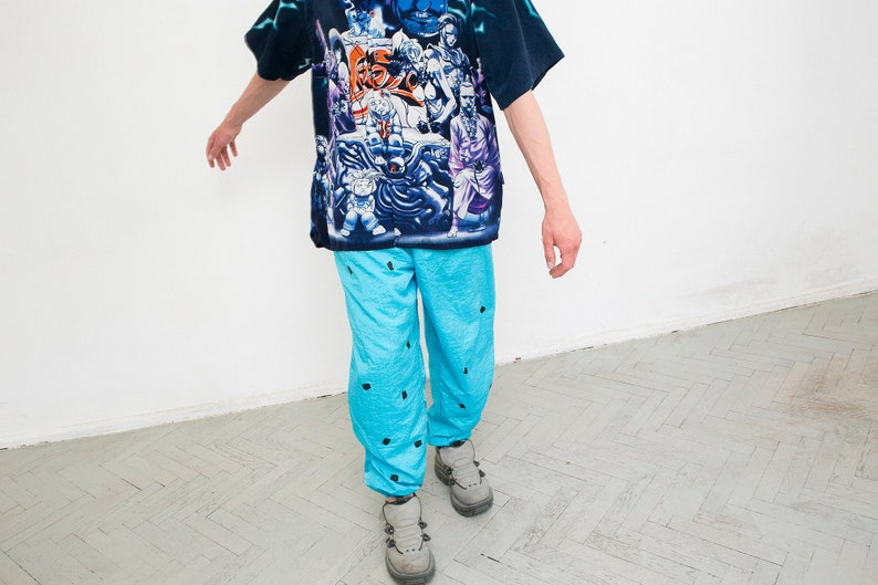 Vintage Track Pants Blue Black Square Detailing Zipper Ankle Elastic Waist Workout Trousers Fitness Bottoms 90s