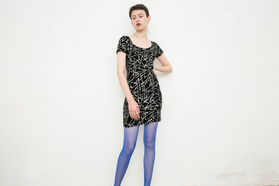 Vintage Mini Dress Black Stretchy Short Gothic Dre