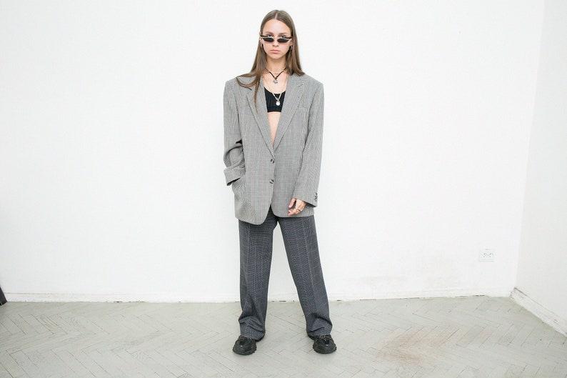 Vintage Boyfriend Grey Blazer Red Blue Plaid Elegant Office Single Breasted V Neck Jacket Oversized Check Suit Jacket 80s