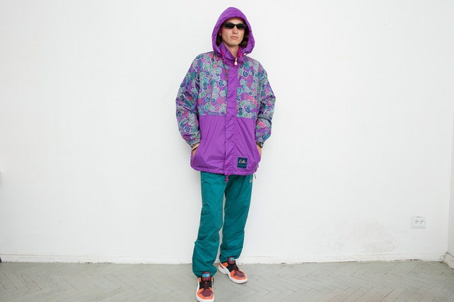 Clothing, Shoes & Accessories Realistic Vintage Track Jacket Blue 90s Festival Rave Sport Shell Jacket Windbreaker M Punctual Timing