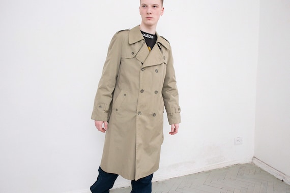 Vintage Olive Green Classic Trench Coat Double Bre