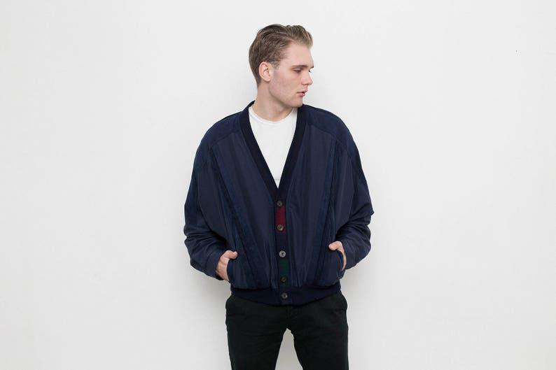 3430cbbe Men's dark blue bomber jacket . Vintage 90s blue silk wool baseball jacket  . Hipster retro clothing . Size 52 .