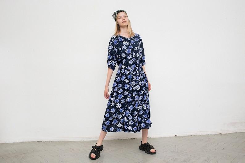 Vintage Dress Navy Blue Floral Pattern Light Long Dress Button Up Scoop Neckline Half Sleeved Oversized Waisted Casual Long Streetwear 90s.