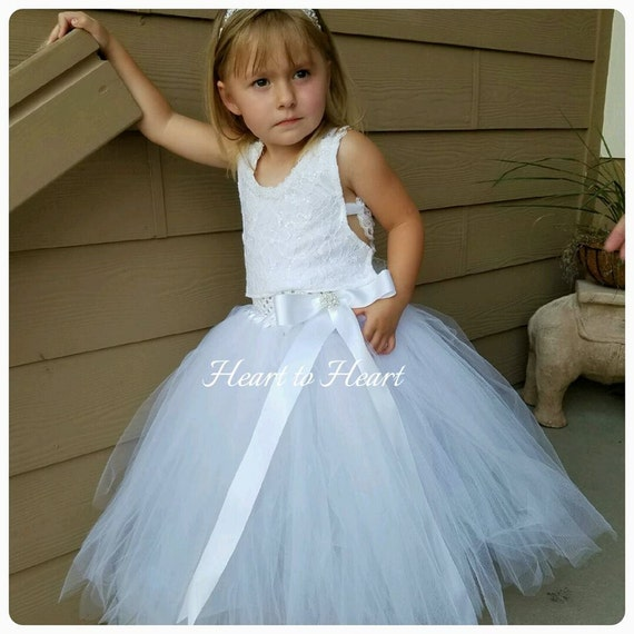 809e4ed06a9 Flower girl tutu dress Flower girl lace white vintage rustic