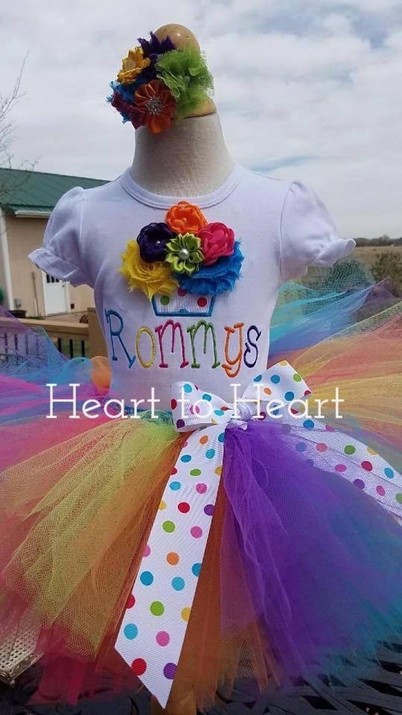 tutu tutu dress Confetti tutu cupcake tutu outfit set Birthday girl Birthday tutu outfit set Rainbow tutu outfit set Rainobow tutu