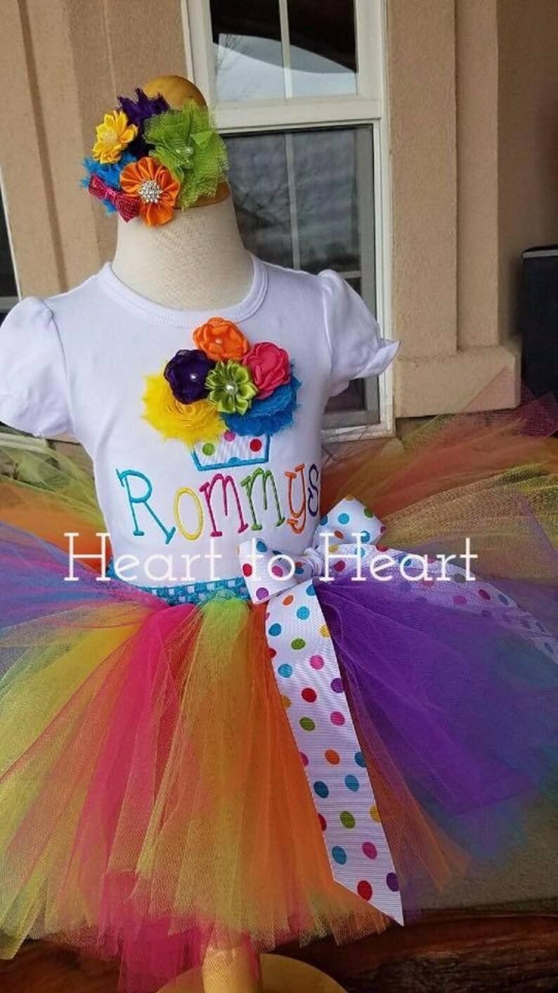 09214a3f1b1 Birthday tutu outfit set Confetti tutu Rainobow tutu