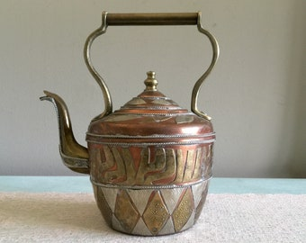 Vintage Copper and Brass tea kettle Mixed Metal teapot Snake Spout Teapot with handle