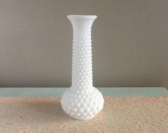 Vintage hobnail milk glass vase white bud vase