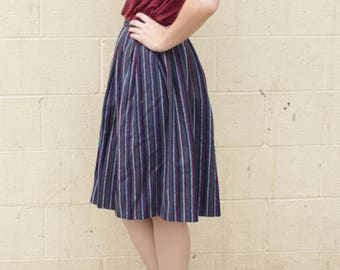 Vintage 1950's Mid-century Dark Blue Striped Mexican Circle Skirt High Waisted