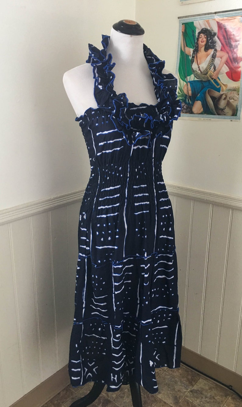 Vintage Bohemian African Print Cotton Navy Blue White Dress  Halter Dress  Senorita  Minimalist Print  Abstract print
