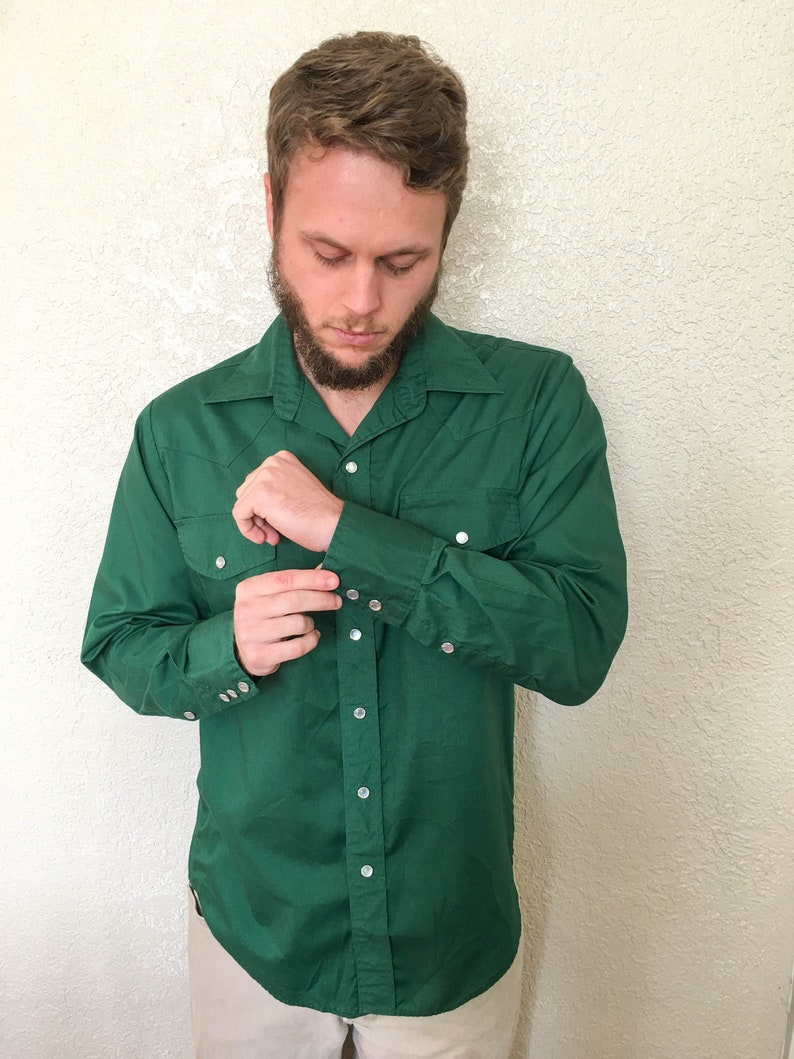 f37ffb7d23 Vintage 1960's Men's Forest Green Western Pearl Snap | Etsy