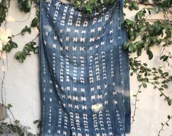 Vintage Blue African Indigo Mud Cloth Shibori Fabric Textile 60L x 42W