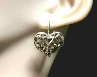 Mini heart silver plated earrings