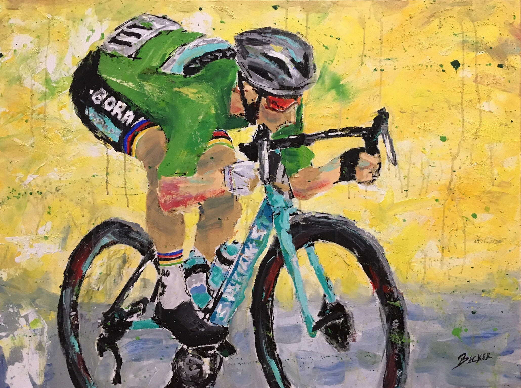 56eb75d86 Peter Sagan in the Green Jersey | Etsy