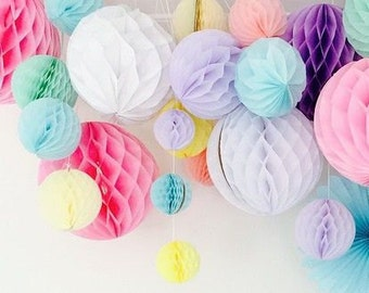 pastel party decor -  honeycomb set -