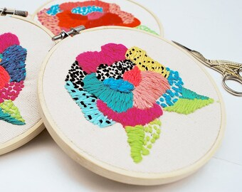"""Beginners Video & Pattern PDF for  """"Wild Rose"""" /// D.I.Y., embroidery, floral embroidery, needle craft, craft supply"""
