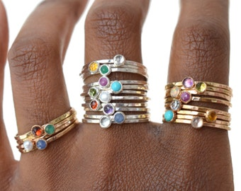 Silver Birthstone Stacking Ring, Gemstone Ring, Skinny Ring, Mothers Ring, Gift for her, SINGLE RING SGRROS-S